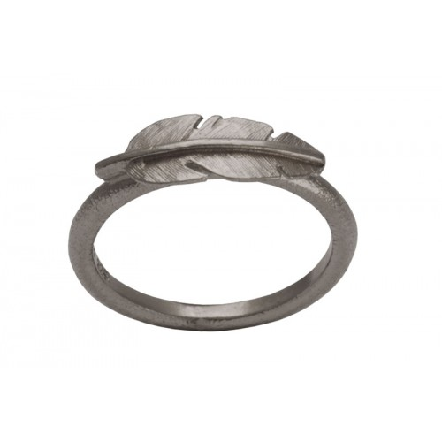 Heiring Fjer Ring Mini Oxideret