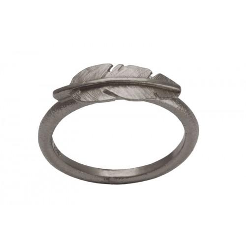 Heiring Fjer Ring Mini Oxideret