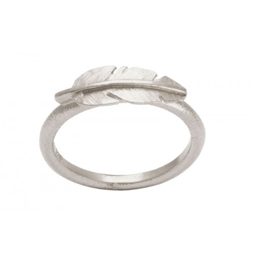 Heiring Fjer Ring Mini Rhodineret
